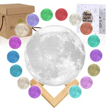3D Moon Lamp - [USA Seller] [Upgrade] 3 Color Moon Night Light with Stand - Mood Lamp Book, Globe, Cool Lamp, USB Charging (5.9 inch 16 Color) ()