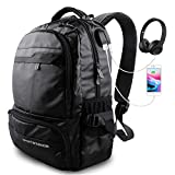 Laptop Backpack, Travel Waterproof Computer Bag for Men Women, High School College Bookbag, Business Fashion Backpacks, with USB Charging & Headphones Port Holds 15.6-inch Laptop (Black)
