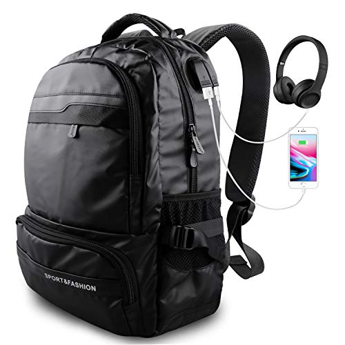 Laptop Backpack, Travel Waterproof Computer Bag for Men Women, High School College Bookbag, Business Fashion Backpacks, with USB Charging & Headphones Port Holds 15.6-inch Laptop (Black) by Maleen
