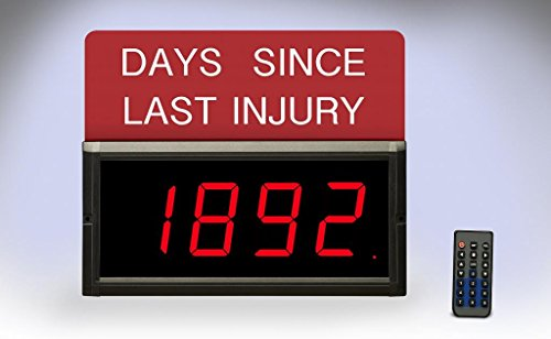 Electronic Displays Inc. EDV300-4D-Days Digital Safety Sign 3'' Numbers Indoor IR Remote Included by Electronic Displays