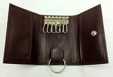 ILI Mens Leather 6 Hook Key Case - Brown