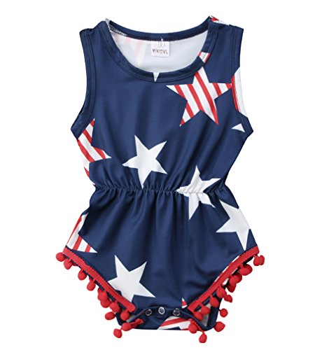 Jump Star Usa - Specialcal 4th of July Baby Boys Girls American Flag Tassel Romper Bodysuit Jumpsuit One-Pieces Outfits Set (6-12Months, American Flag)