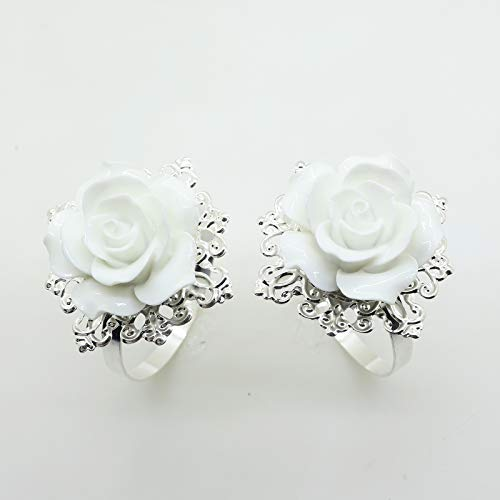 AngHui ShiPin 10pcs White Rose Napkin Ring Serviette Holder for Wedding Party Dinner Table Decor for Christmas Table ()