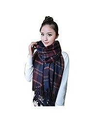 Changeshopping Women Wool Warm Plaids Long Scarf Pashmina Shawl Wrap Soft Scarves (Purple)