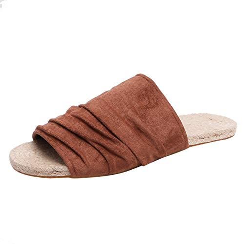 Lenfesh Damen Pantoletten Hausschuhe Sandale Strand Frauen Sommer Hausschuhe Leinen-Rutschfeste Pantoffeln atmungsaktiv Schuhe Außen/Innen Lockere