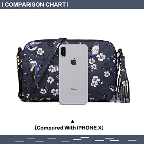 Mini Small Flowers Lulu Women's Handbag Navy City Matte Miss Girl's Retro Bag And Birds Pattern Oilcloth 6802 Clutch Shoulder zqXEXwxf