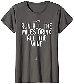 [Featured] Womens Funny Run and Wine Drinking Running Gift for Friend Heart in ALL styles | Size S - 5XL