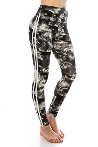 ALWAYS Leggings Women Yoga Pants - Tie Dye Print Color Pattern High Waisted Workout Striped Buttery Soft Stretchy Black White One Size