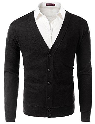 Doublju Mens Long Sleeve Button Down V-Neck Cardigan, Black, XL