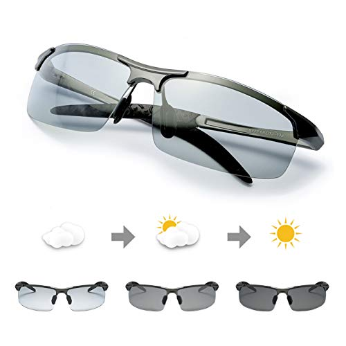 TJUTR Men's Photochromic Sunglasses with Polarized Lens for Outdoor 100%