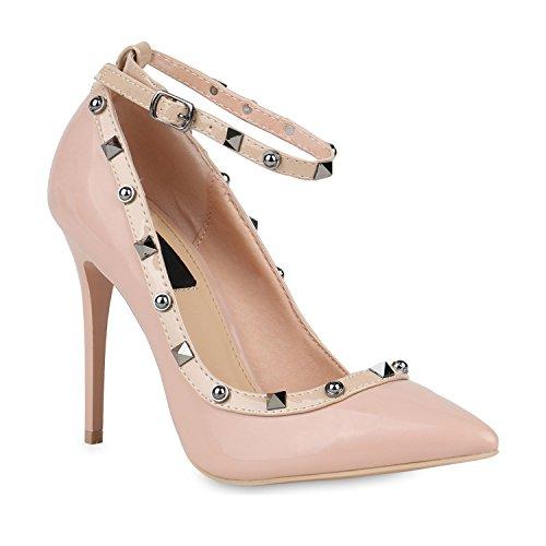 Stiefelparadies Spitze Damen Pumps Stiletto High Heels Metallic Schuhe Lack Absatzschuhe Elegante Abendschuhe Abiball Flandell Rosa Berkley