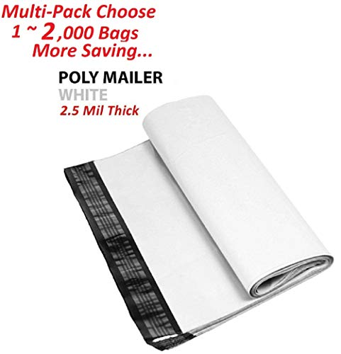 AM-Ink 1000 Bags-19x24 2.5 Mil Thickness Premium Matte Finish Self-Sealing Non-Padded White Poly Mailers/Mailing Envelopes ()