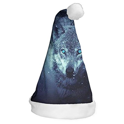 Arctic Snow Wolf Xmas Party Santa Costume Hat Christmas Hat Delicate Printing Headdress Party Hat for $<!--$13.99-->