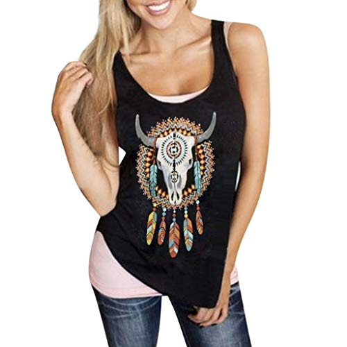 Sunyastor Tank Top for Women Sleeveless Print T Shirt Summer Casual Loose Tank Top Soft Comfortable Fitness Outdoor Tops Black