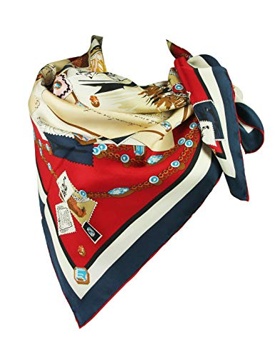 Silk Scarf Luxurious Square Scarf Gift for Women-Pantonight 100% Pure Silk 14MM Hand Rolling Edge Silk Twill Scarf for Women silk scarf for hair (silk square scarf 9-1)