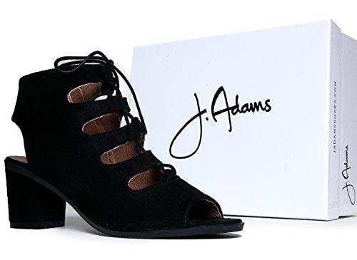 J. Adams Gladiator Veterschoen Lage Hak Bootie - Dikke Blok Enkellaars - Trendy Band-up Sandaal - Kronkel Door Zwart Suède