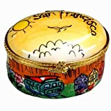 San Francisco Jewelry Box Puff Hand Painted Cable