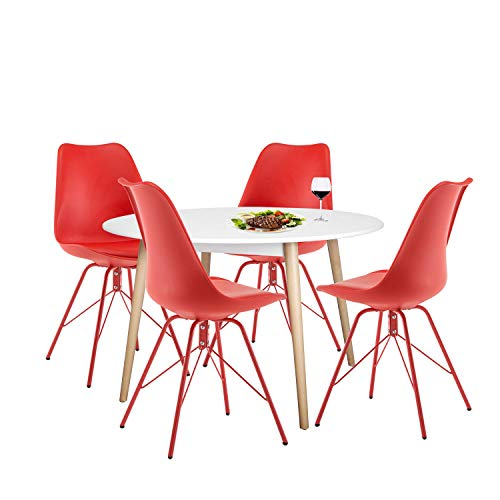 Chairs Red Set 4 (YUIKY Modern Dining Chairs Set of 4 with PU Leather Upholstered Side Chairs (All Red))