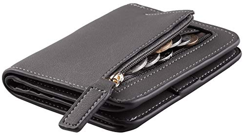 (Toughergun Womens Rfid Blocking Small Compact Bifold Luxury Genuine Leather Pocket Wallet Ladies Mini Purse with ID Window (ReNapa Grey Deep))
