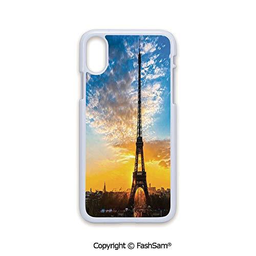 Fashion Printed Phone Case Compatible with iPhone X Black Edge Sunrise View of Eiffel Tower Capital City Famous Monument Travel Destination 2D Print Hard Plastic Phone - Pastel Party Destination
