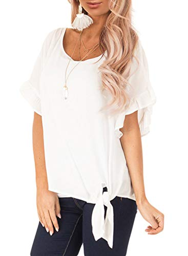 Ecrocoo Women's Round Neck Ruffled Sleeve Blouse with Front Knot Detail White M ()