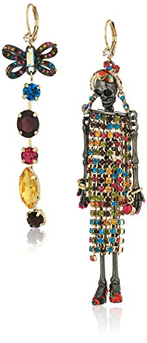 Betsey Johnson Womens Gold and Hematite Doll Earrings