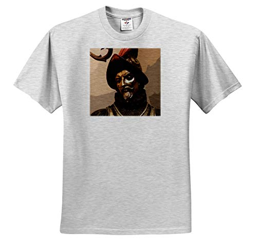 3dRose Stamp City - Miscellaneous - Photograph of a Conquistador Statue with a Cutout Effect. - Toddler Birch-Gray-T-Shirt (4T) (ts_319054_33) ()