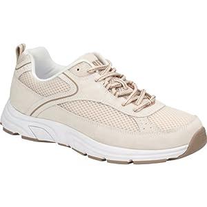 Drew Shoes Athena Women's Therapeutic Diabetic Extra Depth Shoe: Cream/Combo Suede / Floral / Mesh 8 X-Wide (2E) Lace