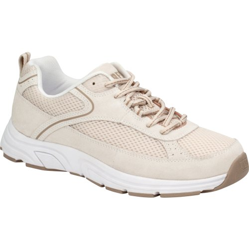 Drew Shoes Athena Women's Therapeutic Diabetic Extra Depth Shoe: Cream/Combo Suede / Floral / Mesh 10.5 Wide (D) Lace