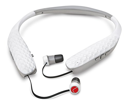 Lucid Audio AMPED HearBand Sound Amplifying Bluetooth Neckband Earbud Headphones - White/Gray (Hearing Of Earphones The Hard For)