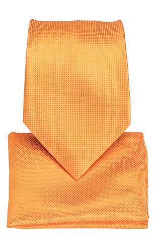 DiBanGu Solid Tie and Pocket Square Men's Woven Necktie Silk Handkerchief Sets (Orange)