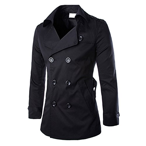 - DUBUK Mens Trench Coat Double Breasted Raincoat Belted Winter Trench Windbreaker