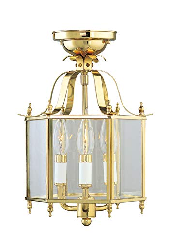 Livex Lighting 4403-02 Home Basics 3 Light Polished Brass Hanging Lantern or Flush Mount Chandelier with Clear Beveled Glass