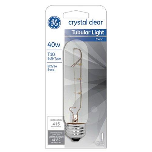 GE Lighting 45514 40-Watt 420-Lumen Specialty T10 Incandescent Light Bulb, Crystal Clear