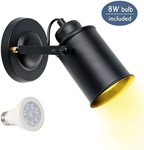 KINUR Spotlight Fixture Wall lamp Black Wall/Ceiling Metal Cylinder Light Simplicity Retro Decorative Adjustable Wall Mounted Lamp for Restaurant Corridor Coffee ShopClub(8W LED E26 Bulb Included)