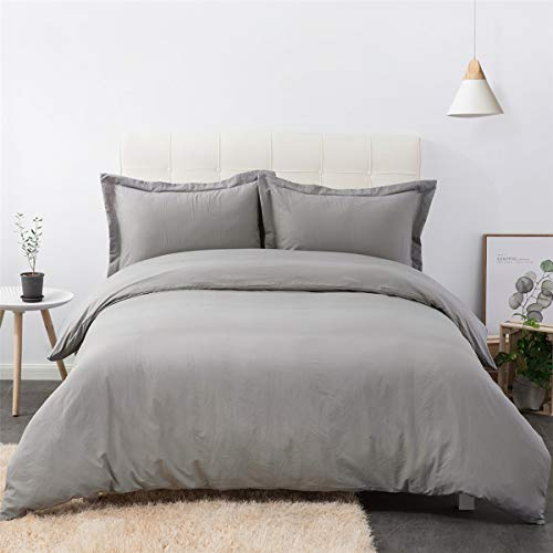 Bedsure Washed Grey Duvet Cover Full/Queen Size Set with Zipper Closure, Ultra Soft Hypoallergenic 3 Pieces Comforter Cover Sets (1 Duvet Cover + 2 Pillow Shams), 90x90 inches