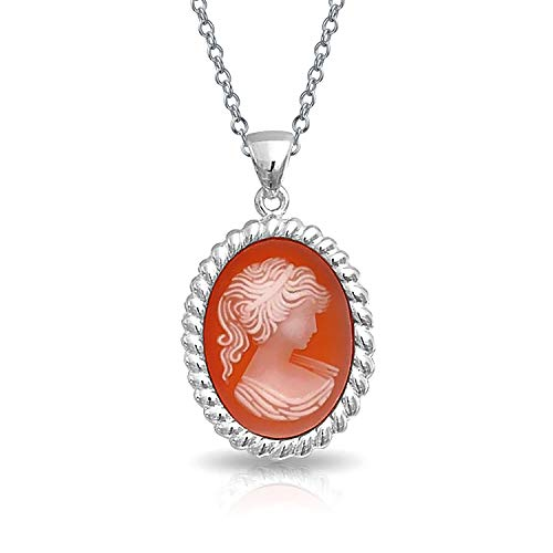 Vintage Style Rose Pink Peach Craved Victorian Lady Cameo Pendant 925 Sterling Silver Necklace For Women For Grandma