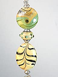Sweep of Prairie Style Wheat Feather Stripe Lampwork Glass Ceiling Fan Pull Chain