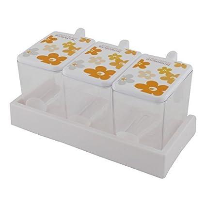 Cocina DealMux plástico del hogar 3 Secciones Contenedor Condimentos Especias dispensador Case Orange