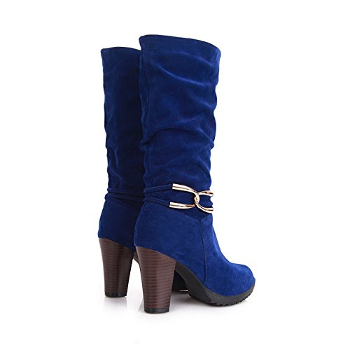 B Platform Chunky Heels M Closed PU High Toe AmoonyFashion Blue and 5 Boots 5 Heels Womens with Round Rubber Solid US UPqw6C4S