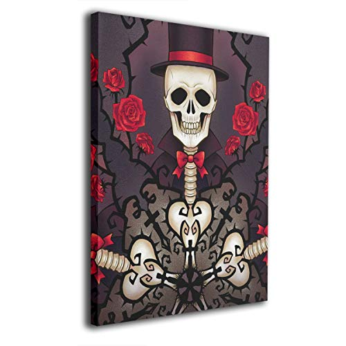 Baerg Skull Gentleman Frameless Decorative Painting Wall Art for Home and Office Decorations
