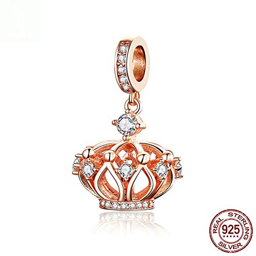 (WANZIJING 925 Sterling Silver Crown Charms, Rose Gold Charm Queen Beads Pendant with Crystal Fits Bracelet Necklace for Jewelry Making,Pendant)