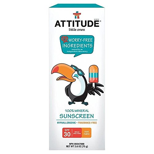 Attitude Petits 100% Écran Solaire Minéral Spf 30 Parfum 75G Gratuit (Lot de 6)