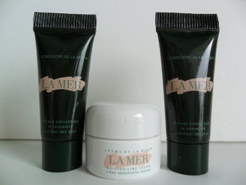 La Mer Skincare Set 3 pcs(The Moisturizing Cream .1 oz/ 3.5 ml, The Eye Concentrate .1 oz / 3ml) Deluxe Travel Size.