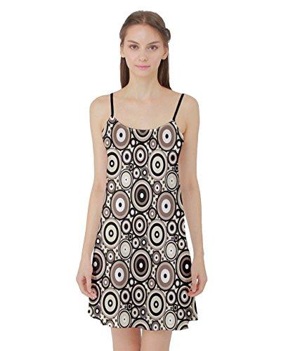 PattyCandy Womens Retro Circles Dots Satin Slip Nightgown Sleepwear - 2XL