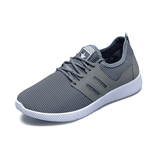(HULKAY New Upgrade Men Shoes, Comfort Men's Cross Tied Striped Gym Sneakers Running Casual Shoes(Gray,US:8/CN:42))