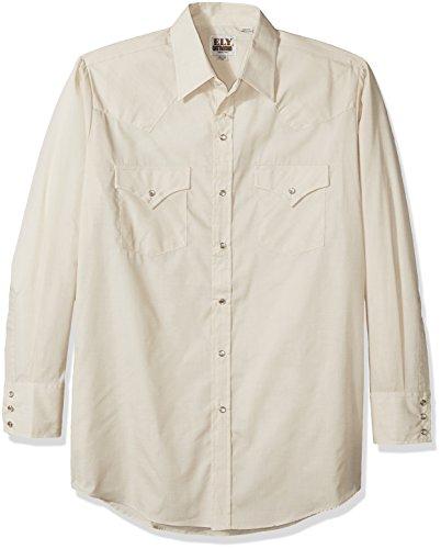 Ely & Walker Men's Long Sleeve Solid Western Shirt, Ecru,...