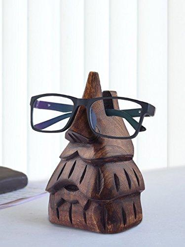 The StoreKing Wooden Eyeglass Spectacle Holder Handmade Nose Shaped Stand for Office Desk Home Decor Gifts (Beard Design)