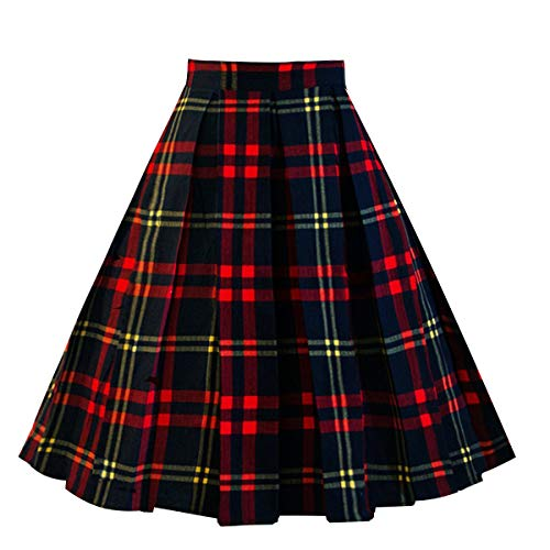 Girstunm Women's Pleated Vintage Skirt Floral Print A-line Midi Skirts with Pockets Red-Black XL New