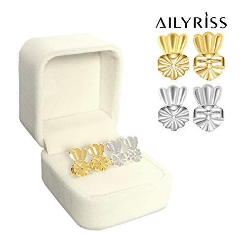 Earring Lifter Backs,Earring Lift (1 Pair 18K Gold Plated and 1 Pair Silver Plated) Earring Lifts Hypoallergenic Earring Lifters Back Earrings by AILYRISS (Crown)